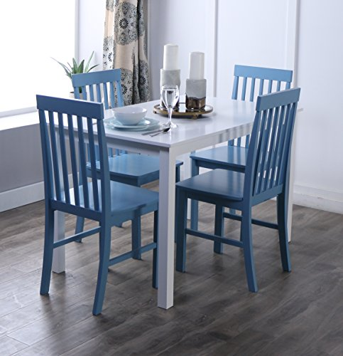 New 5 Piece Chic Dining Set-Table and 4 Chairs-White/Powder Blue Finish
