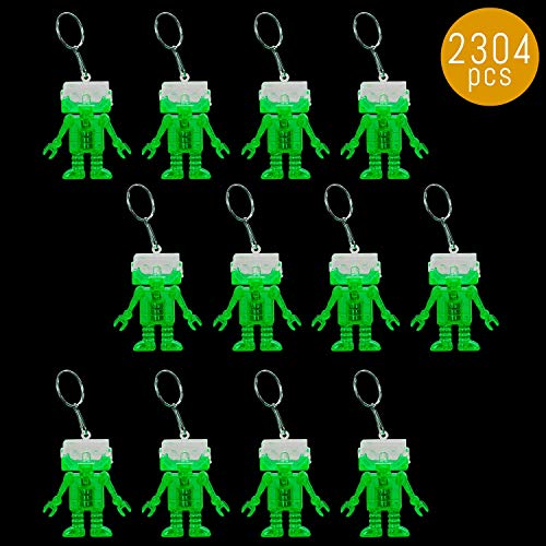 (Lumistick Light-Up 2 Inch Flashing Android Robot Keychain - Small Lightweight Pocket Size Multicolor Glowing LED Keyring - Backpack Accessories (Green, 2304 Keychains))