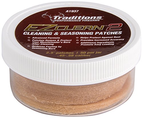 Traditions Cleaning Patches - Traditions Performance Firearms Black Powder EZ Clean 2 .45-.58 Cal 50/Jar 2.5-Inch Diameter Cleaning and Seasoning Patches