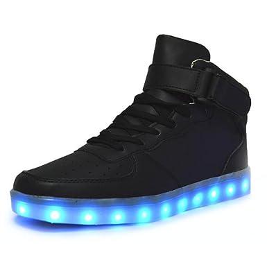 JSHOE Unisex LED-Schuhe 7 Farben USB Aufladen Glühen Freizeitschuhe Blitz Hohe Hilfe Paar Schuhe Für Valentinstag Weihnachten Halloween,Black-39EU