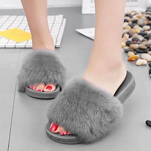 Womens Casual Open Teen Antislip Zachte Zachte Nepbont Platte Slipper Platte Slide Sandalen, Comfortabel En Mooi 3 Kleuren Door Cssd Grijs