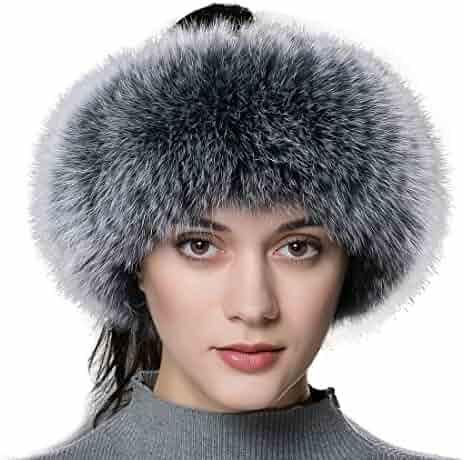 19e449fdf5d91 URSFUR Winter Women Fur Headband - Warm Real Fox Fur Knitted Headband  Earmuffs Ear Protector