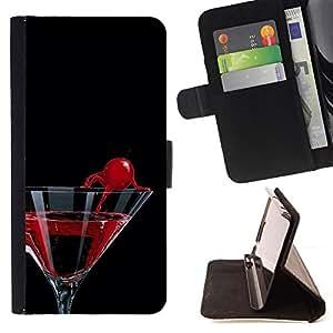 BullDog Case - FOR/Apple Iphone 6 / - / Cocktail Martini Cherry /- Monedero de cuero de la PU Llevar cubierta de la caja con el ID Credit Card Slots Flip funda de cuer
