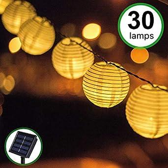 Guirnaldas de Luces Solar Jardín LED Bawoo 30 LED Guirnaldas Luces Exterior 5,5m Impermeable IP65 Guirnalda Luces Decoración Exterior Interior Luz Navidad Fiesta Ceremonia Jardín Casa (Blanco Cálido): Amazon.es: Iluminación