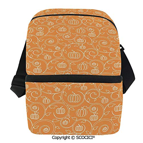 SCOCICI Insulated Lunch Cooler Bag Pattern with Pumpkin Leaves and Swirls on Orange Backdrop Halloween Inspired Reusable Lunch for Men Women Heat Insulation,Heat Protection ()