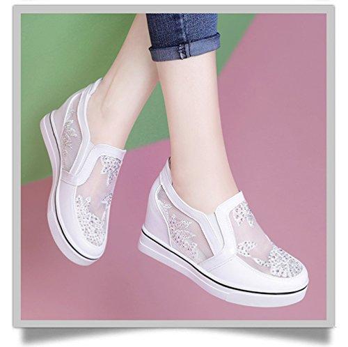los Delgadas Verano Zapatos SBL Aumento de Mujer 37 para Blanco Zapatos Mujer Versátiles de Cuñas Casuales Zapatos en y Sueltos EpEzqng0