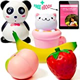Tamify Jumbo Slow Rising Squishies 5PCS Cute Panda Cup Cat Strawberry Peach Banana Sweet Scented Stress Relief Kawaii Animal Fruit Squishy Charms Toys Pack For Kids And Adults