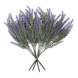 Houseables Artificial Lavender Flower, Purple, 4 Bundles, Plastic, Fake Flowers, Faux Stems, Flocked Lavendar Sprigs, Floral Arrangement Bouquet, Plant Wreath Home Decor, Realistic, Plants Decorations 1