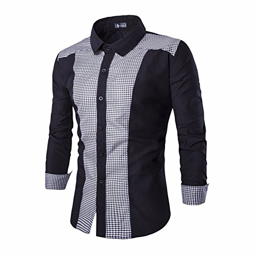 Men's Blouse ,Clearance Sale -Farjing Mens Long Sleeve Oxford Formal Casual Suits Slim Fit Tee Shirts Blouse Top(L,Black) by Farjing