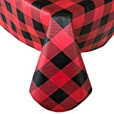 Newbridge Holiday Red and Black Buffalo Plaid Christmas Print Vinyl Flannel Backed Tablecloth, Rustic Red and Black Cottage Check Xmas Tablecloth, (52 Inch x 70 Inch Oblong/Rectangle)