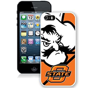 Fashionable And Unique Designed With NCAA Big 12 Conference Big12 Football Oklahoma State Cowboys 15 Protective Cell Phone Hardshell Cover Case For iPhone 5S Phone Case White
