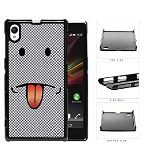 Emoji Smiley Face With Tongue Out Gray Diamond Hard Plastic Snap On Cell Phone Case Sony Xperia Z1