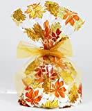 Fall Leaves/Thanksgiving Cellophane Treat/Party Favor Bags with Gold Twist-Tie Organza Bow. Set of 10 Ready-to-Use, Gussetted 11x5x3 Goodie Bags with Bows