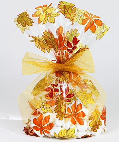Fall Leaves/Thanksgiving Cellophane Treat/Party Favor Bags with Gold Twist-Tie Organza Bow. Set of 10 Ready-to-Use, Gussetted 11x5x3 Goodie Bags with Bows (Thanksgiving Favors)