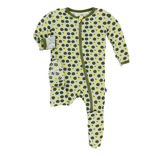 Kickee Pants Little Boys Print Footie with Zipper - Aloe Tomatoes, 6-9 Months (Comfy Bodysuit)