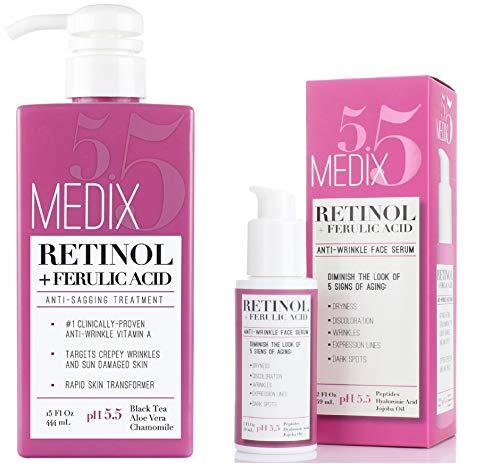 51BhrKgo8GL - Medix 5.5 Retinol Cream & Retinol Serum two-piece set. Anti-aging retinol set w/ferulic acid for wrinkles, fine lines, expression lines, dark spots. Contains 2oz serum & 15oz cream for face & body