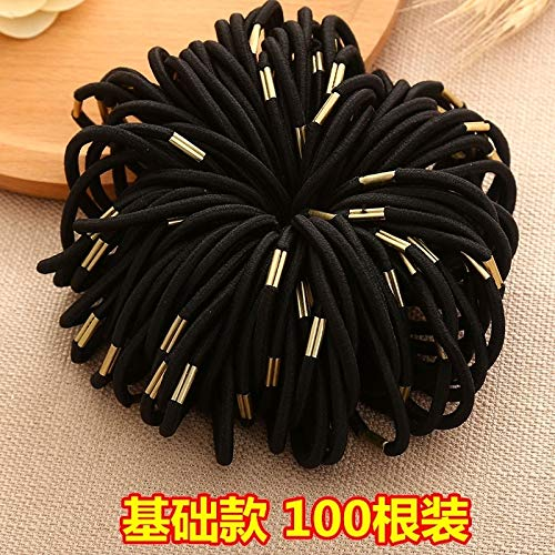 - (Set 100) Value Rubber Band Hair Ring Elastic Rope Ponytail Holder Hair Band Korean Woman Gift Card Black Adult Hair tie Hair pin Comb Claw Pass Bow Child Cute Girl Hair Rope Headdress (38# Basic mod