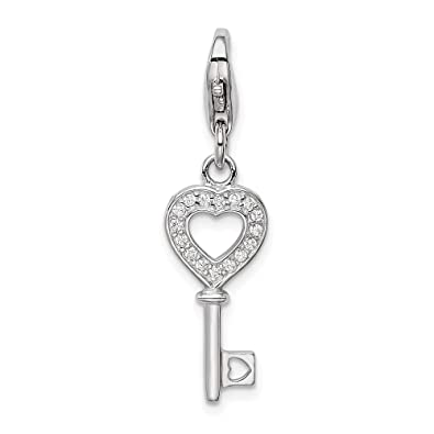 Heart Key Cubic Zirconia Pendant Necklace Sterling Silver