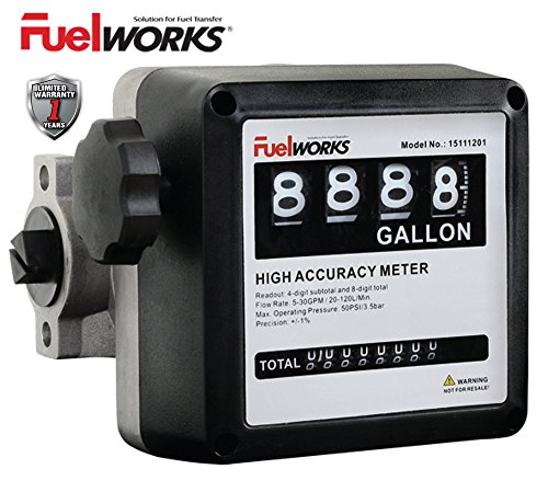 Fuelworks 15111200A 1'' Mechanical Fuel Meter, Black by Fuelworks