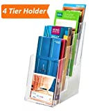 1InTheOffice 4-Tier Brochure Holder, Plastic Literature Brochure Size Stand, Wall Mount or Counter Top Use Clear Acrylic 4''x6''