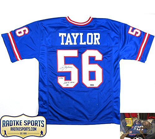 Lawrence Taylor Autographed/Signed New York Giants Blue Custom Jersey with