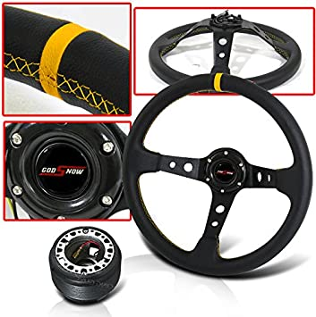 Horn Button Hub Adapter Black 350MM PVC Leather Red Deep Dish Steering Wheel