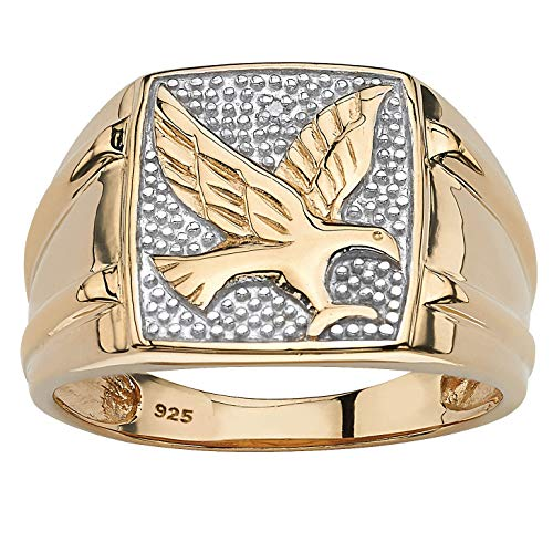 Men's 18K Yellow Gold over Sterling Silver Diamond Accent Two-Tone Eagle Ring Size 13