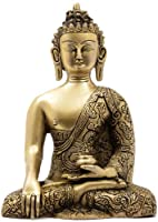 The Buddha in Bhumisparsha Mudra (Robes Decorated with Dragons) - Brass Sculpture
