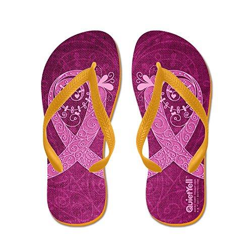 CafePress Think Pink Curly Ribbon Lt Flip Flops - Flip Flops, Funny Thong Sandals, Beach Sandals Orange