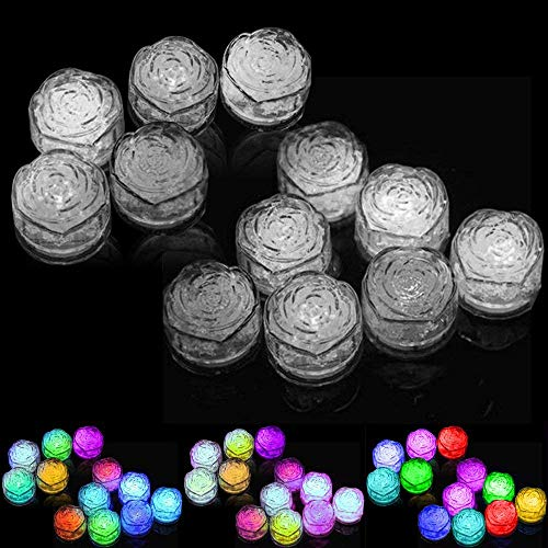 LUCKSTAR Simulation Ice Cube - 12pcs Lights Multicolor Water Submersible LED Liquid Sensor Light for Wedding Party Bar Club Champagne Tower Holiday Decoration (Rose)