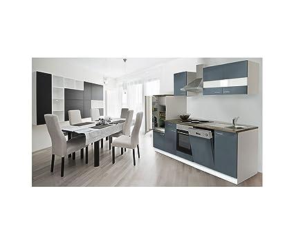 respekta cucina cucina riga in cucina da incasso in blocco Mobili Parti 280  cm Bianco Grigio lbkb280wg