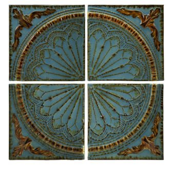 IMAX 12468 Blue Quarter Medallion Wall Panels, Set of 4 (Art Spanish Tile)