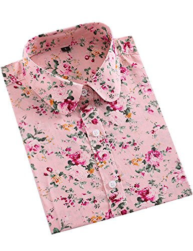 SPAREE Women's Tops Casual Blouses Long Sleeve Work Button Up Dress Shirts,Pink Fuschia Floral,M (Pink Plaid Western Shirt)