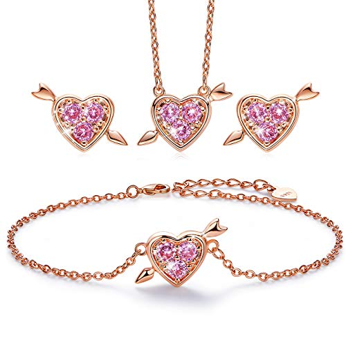 (CDE Sterling Silver Three Set Rose Gold Jewelry Set Heart Necklace Bracelet Stud with CZ Diamond Gift for Women)