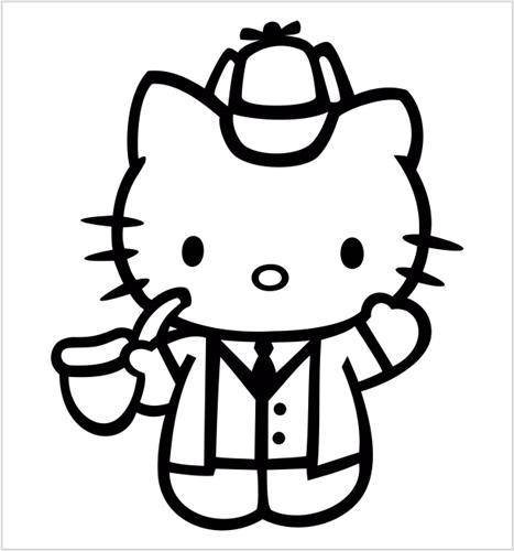 hello-kitty-sherlock-holmes-vinyl-5-tall-color-black-decal-laptop-tablet-skateboard-car-windows-stic