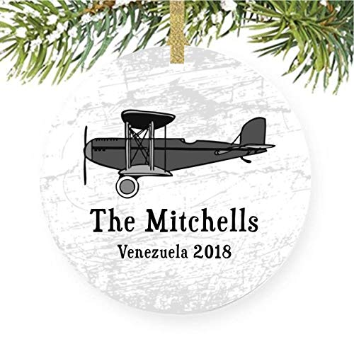 Airplane Christmas Tree Ornament For Aviator or Plane Aviation, Daddys or Grandpas Co Pilot