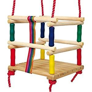 small foot 6997 Altalena da bambino in legno con cintura, in colori vivaci e maniglie di molti, dai 18 mesi in su 51Bht2HP 4L. SS300