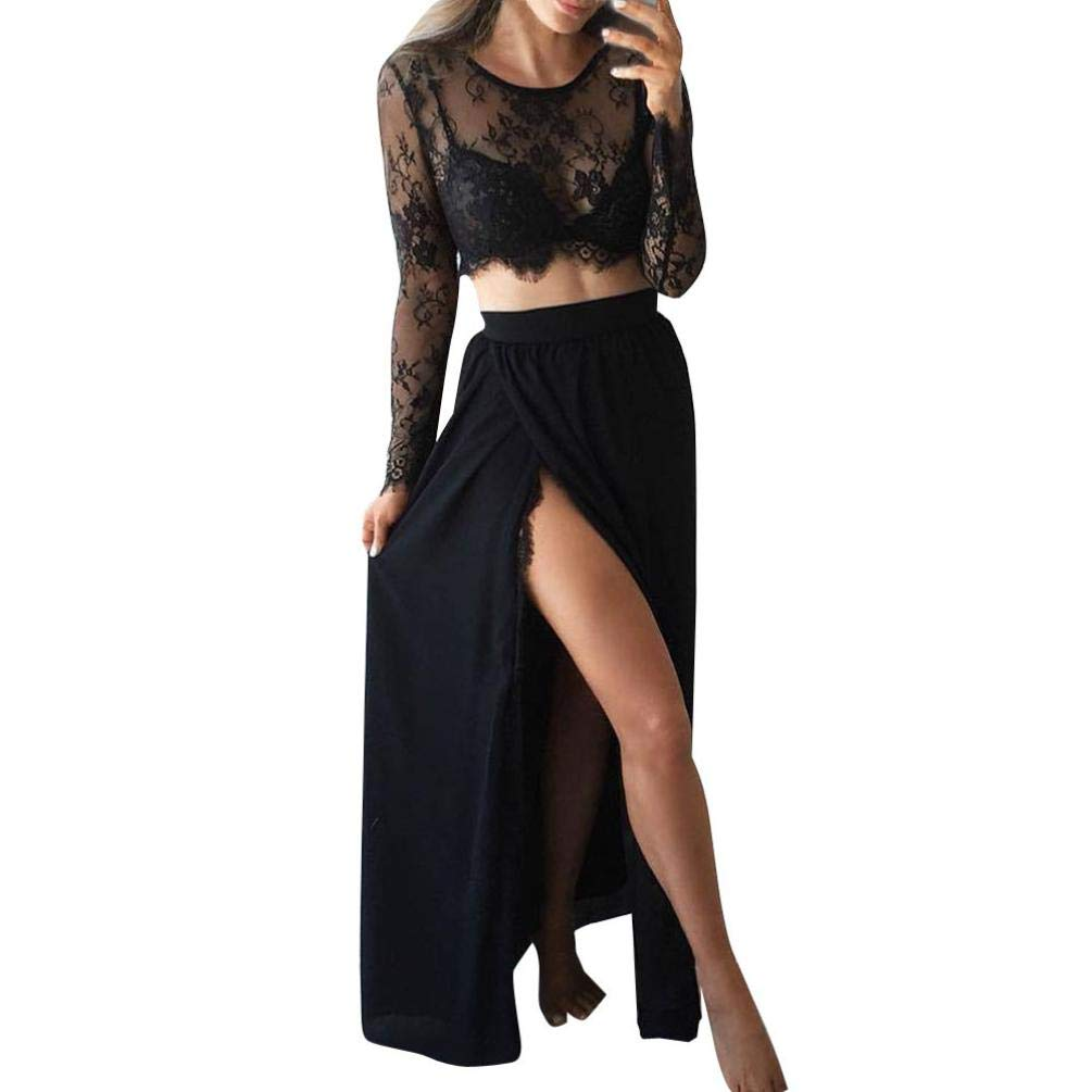 2Pc Women's Set-Sexy Lace Long Sleeve Sheer Floral Crop Tops+Bodycon Skirt