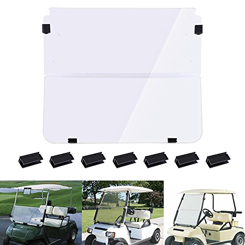 AW Fold Down Golf Cart Windshield Impact Resistant Acrylic Split Windshield Compatible with Club Car DS 1982-2000
