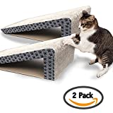 iPrimio Cat Scratch Ramps (2 Ramps for One Price) - Foldable for Travel and Easy Storage - Great for Cats Playing Over - Laying - and Scratching - Patent Pending Design (2 Pack)