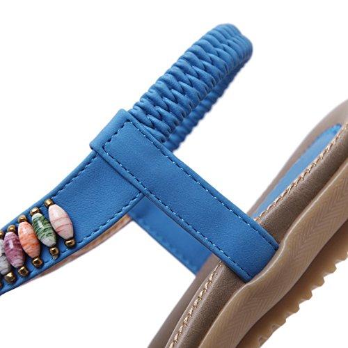 AalarDom Womens Pull-On Split-Toe Low-Heels PU Solid Sandals Blue-2G bc0RKO8cb4