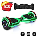 """6.5"""" inch Wheels Electric Smart Self Balancing Scooter Hoverboard With Speaker LED Light - UL2272 Certified (Chrome Green)"""