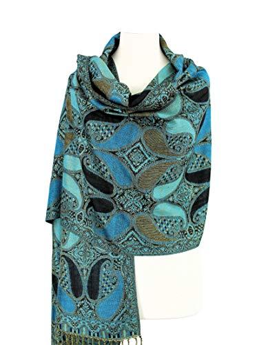 tern Tow Layered Woven Pashmina Shawl Scarf Wrap Stole (A18-05) ()