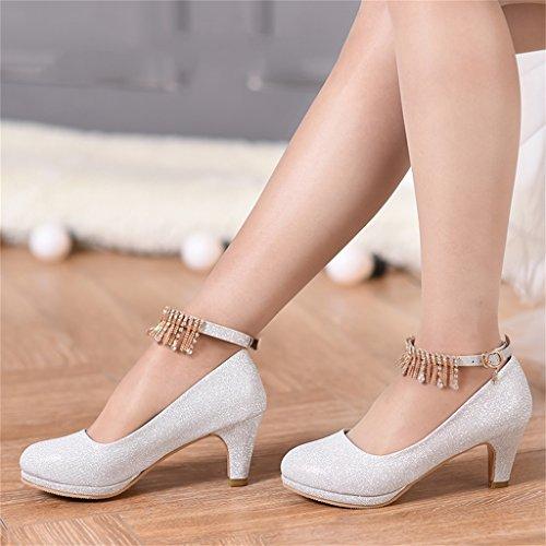 D'onore 39 Tacchi con Silver Damigella Shoes Alti Sposa colore 6cm Bridal Donna Silver Dimensioni Di D'argento Beautiful Scarpe Da Nozze Abiti Wf0HnwqC