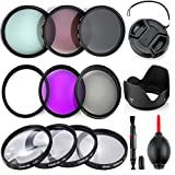 Professional 55MM Lens Filter Bundle Kit, 9 Compact Nikon Accessories