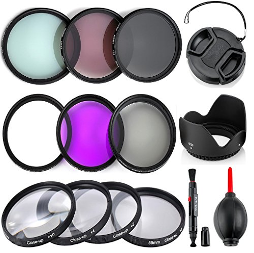 Price comparison product image Professional 55MM UV CPL FLD Filters + Neutral Density Set + Close-Up Macro Set,  10 Piece Compact Photography Accessories For Nikon