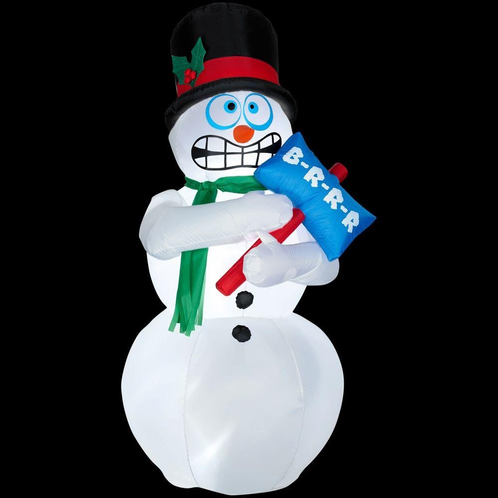Animated Shivering Snowman Inflatable - 6 Feet Tall - Shivers and Shakes - Gemmy