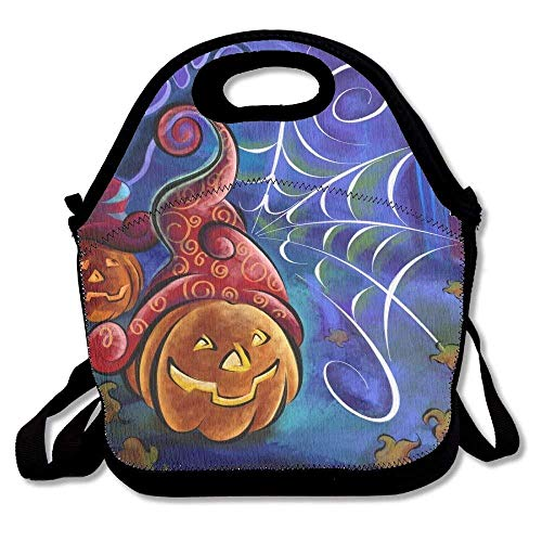 Halloween Pumpkins And Spider Web Drawing Portable Carry Insulated Lunch Bag - Bento Bag - Large Reusable Lunch Tote Bags For Women, Teens, Girls, Kids, Baby, Adults ()