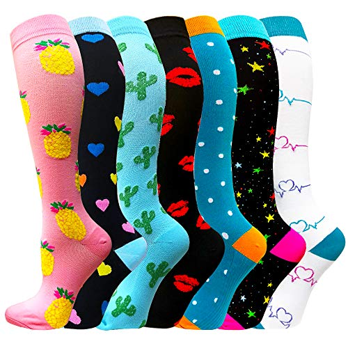 Compression Socks For Women&Men 20-30mmHg - Best for Running,Travel,Cycling,Pregnant (Small/Medium, Mix of Colors5)