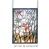 HF-153 Rural Vintage Tiffany Style Stained Church Art Glass Decorative Flowers&Branches Rectangle Window Hanging Glass Panel Suncatcher, 26.5''H14''W